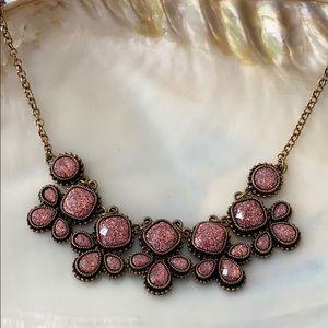 Charming Charlie pink glitter statement necklace